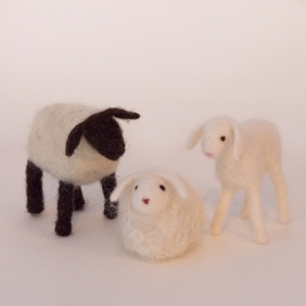 Two sheep and a lamb